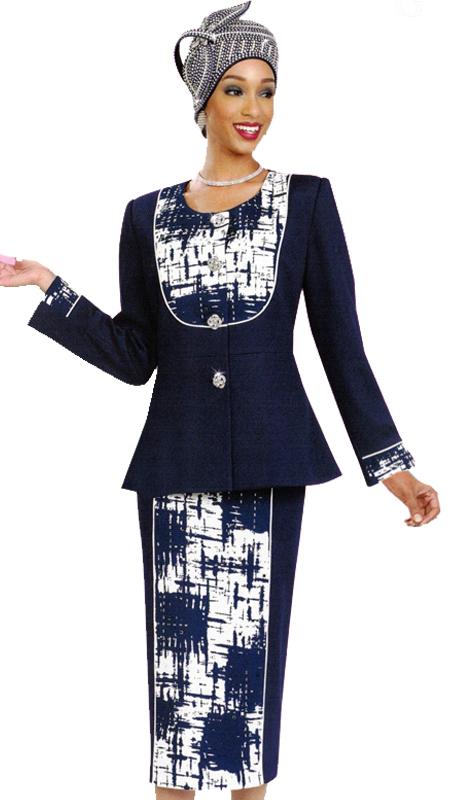 Ben Marc 47987 ( 2pc Bold Geometric Womens Sunday Suit )