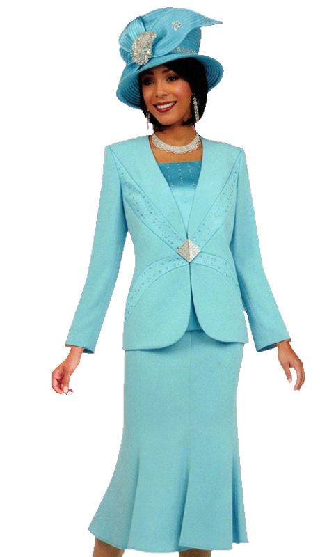 Ben Marc 47702 ( 3pc Womens Church Suit With Striking Geometric Clasp )