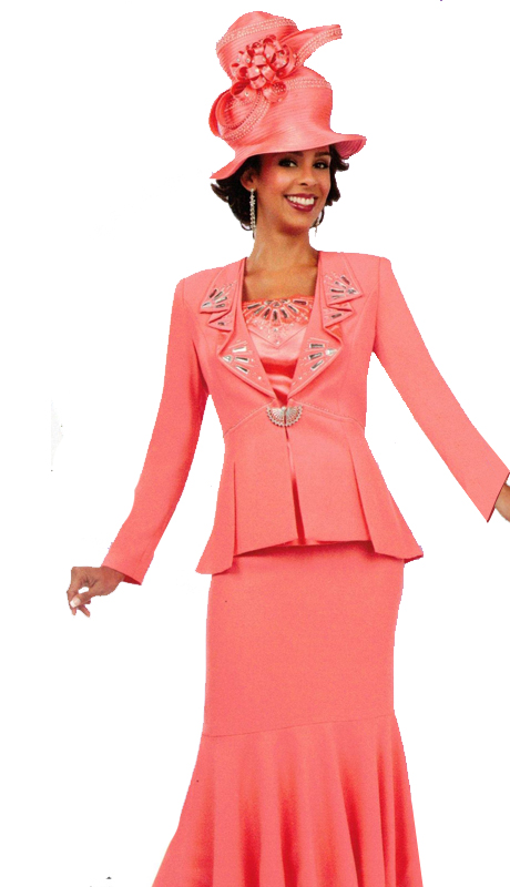 Ben Marc 47711 ( 3pc Ladies Church Suit With Accented Collar And Top )