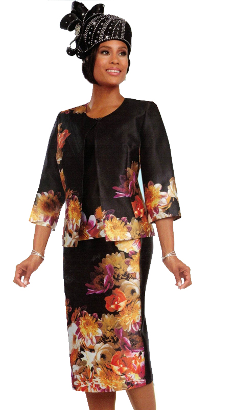 Ben Marc 48084 ( 3pc Novelty Contrasting Floral Womens Church Suit )