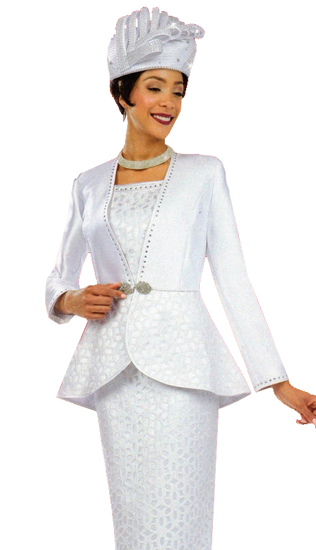 Ben Marc 48064 ( 3pc Womens Sunday Suit With Ornate Clasp )