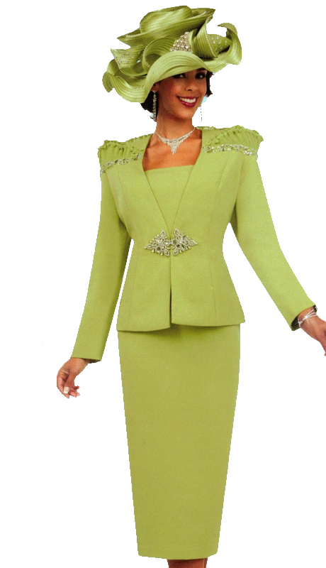 Ben Marc 47734 ( 3pc First Ladies Church Suit With Beautifully Embroidered Shoulders and Ornate Clasp )