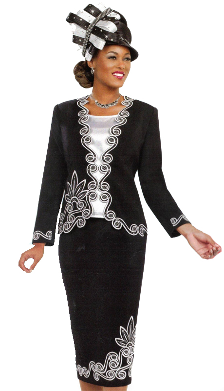 Ben Marc 48030 ( 3pc Ladies Sunday Suit With Striking French Curve Design )