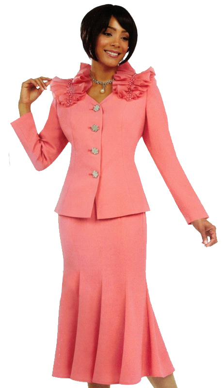 Ben Marc 47735 ( 2pc Womens Church Suit With Ruffled Collar )
