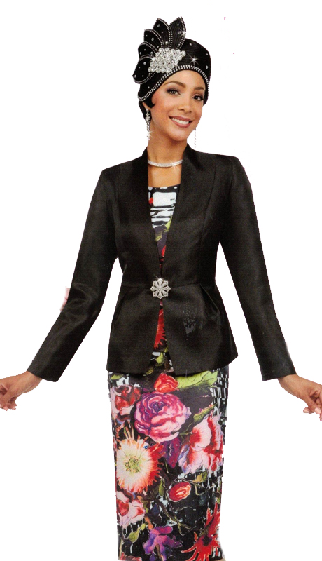 Ben Marc 48082 ( 3pc Novelty Ladies Church Suit With Floral Print And Solid Jacket )