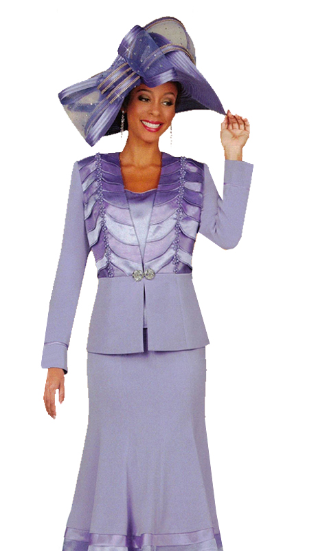 Ben Marc 47926 ( 3pc Womens Church Suit With Ruffle Design On Jacket And Ornate Clasp )