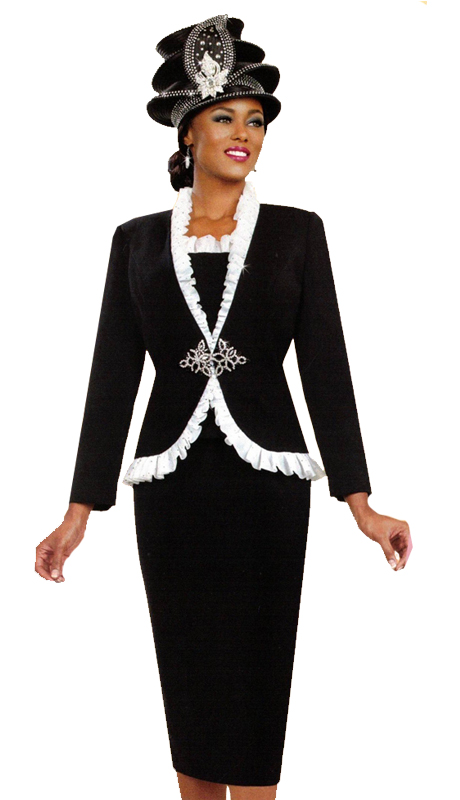 Ben Marc 48035 ( 3pc Ladies Church Suit With Ornate White Accents and Stylish Clasp )