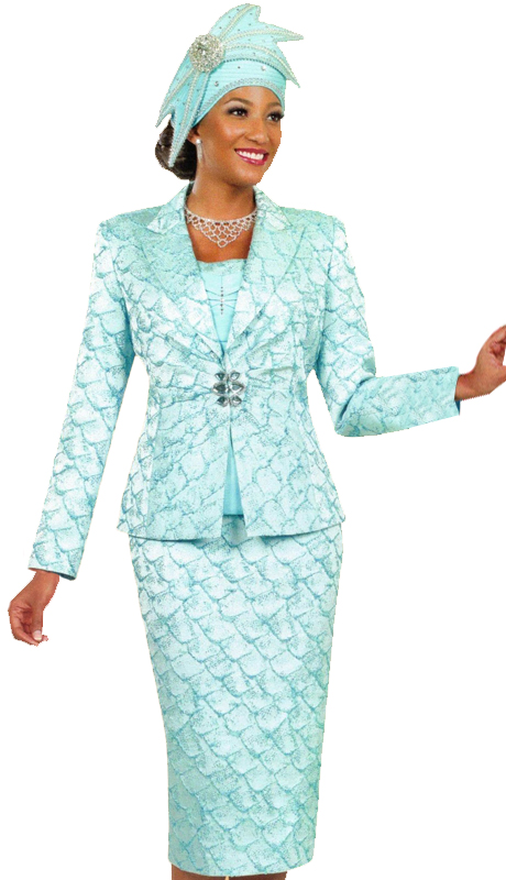 Ben Marc 48040 ( 3pc Womens Church Suit With Nautical Pattern )
