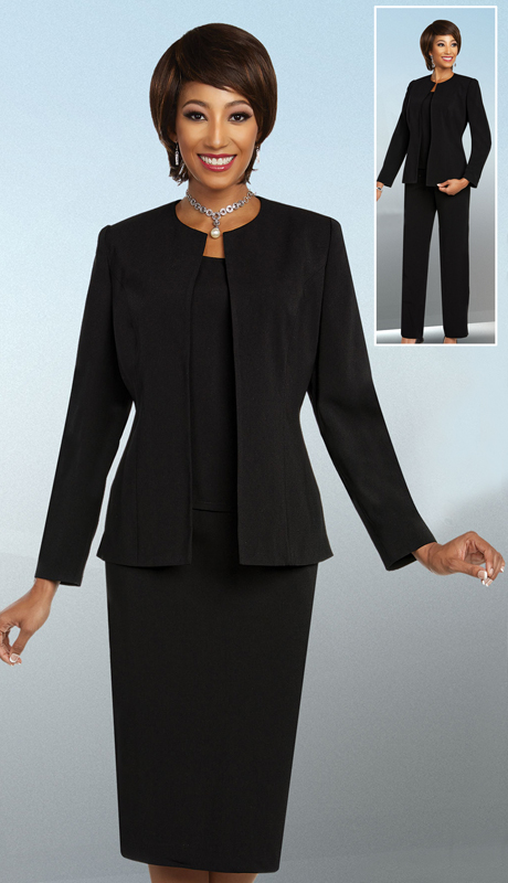 Ben Marc Executive 11829-BK ( 4pc Ladies Church And Career Set With Jewel Neckline Jacket )