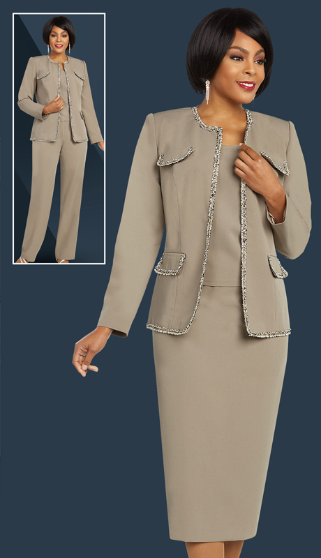 Ben Marc Executive 11826-TA ( 4pc Career And Church Wardrober Set With Trimmed Jacket Accents )