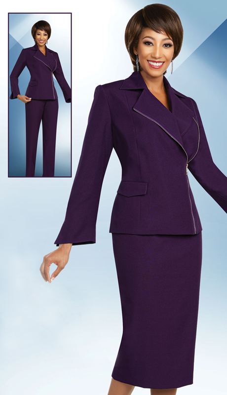 Ben Marc Executive 11824-EP ( 3pc Professional Womens Church And Career Wardrober Set With Wide Notch Lapel Zipper Jacket )