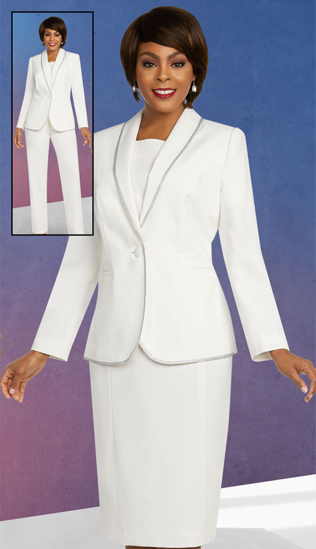 Ben Marc Executive 11820-OW ( 3pc Womens Career And Church Wardrober Set With Satin Trimmed Shawl Lapel Jacket )