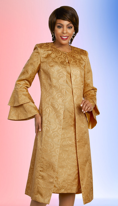 Ben Marc Executive 11847-GO ( 2pc Brocade Career And Church Dress With Matching Duster Style Double Bell Cuff Jacket )