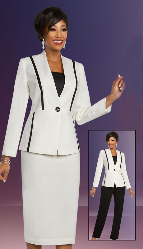 Ben Marc Executive 11819-OB ( 3pc Womens Wardrober Career And Church Set With Contrasting Pants And Matching Skirt )