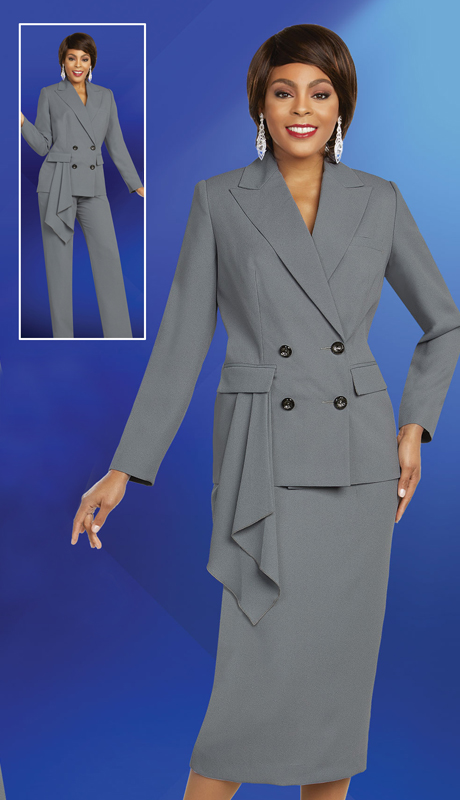 Ben Marc Executive 11818-SI ( 3pc Womens Career And Church Wardrober Set With Peak Lapel Jacket & Pocket Kerchief Look )
