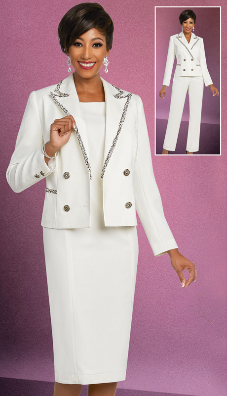 Ben Marc Executive 11817-IV ( 3pc Career And Church Womens Wardrober Set With Double Breasted Peak Lapel Jacket )