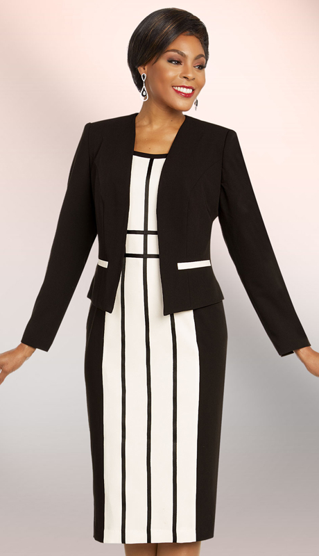 Ben Marc Executive 11814-BO ( 2pc Womens Striped Career And Church Dress Suit With Jacket )