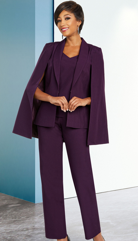 Ben Marc Executive 11806-PU ( 3pc Career And Church Pant Suit With Shawl Lapel Capelet Jacket )