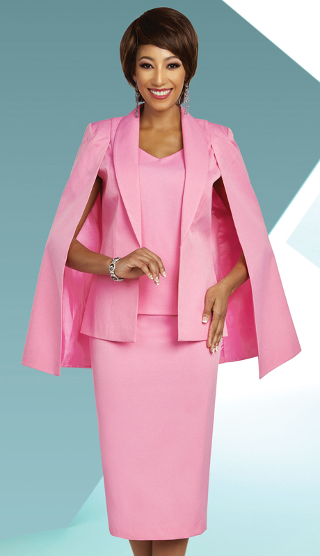 Ben Marc Executive 11803-PI ( 3pc Womens Career And Church Suit With Shawl Lapel Cape Jacket )