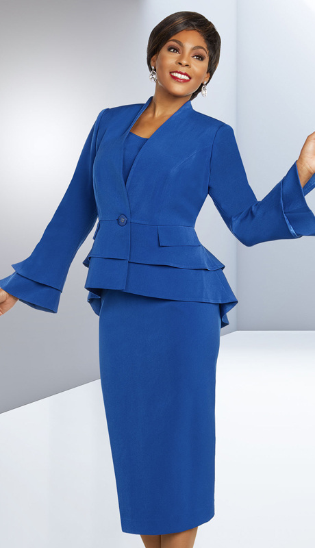 Ben Marc Executive 11802-RO ( 3pc Church And Career Suit With Layered Bell Sleeves And Peplum Jacket )