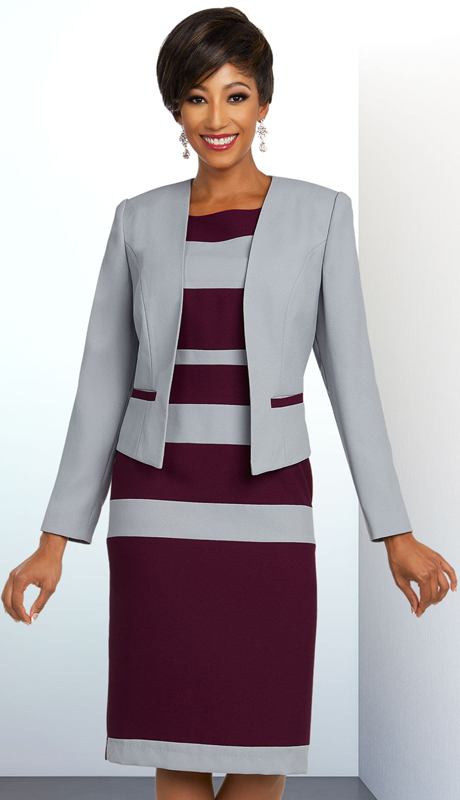 Ben Marc Executive 11801-SB ( 2pc Womens Striped Design Church And Career Suit )