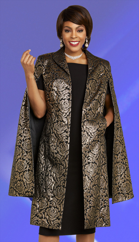Ben Marc Executive 11845-BB ( 2pc Brocade Womens Career And Church Dress Suit With Floral Brocade Design Caped Duster )