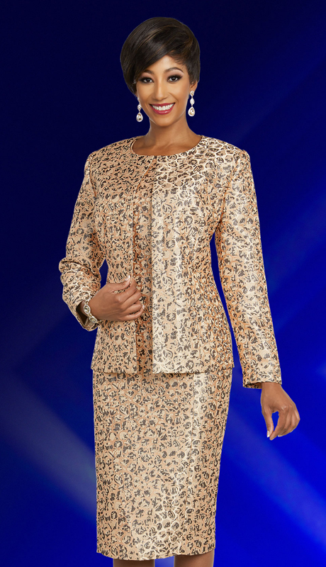 Ben Marc Executive 11841-CP ( 2pc Jewel Neckline Career And Church Dress And Jacket Set With Intricate Pattern Design )