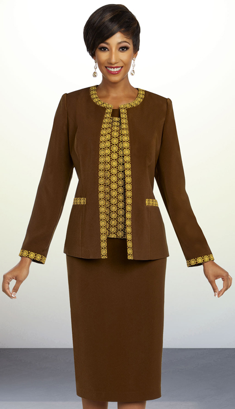 Ben Marc Executive 11830-CG ( 3pc Womens Career And Church Suit With Intricate Trim Design )