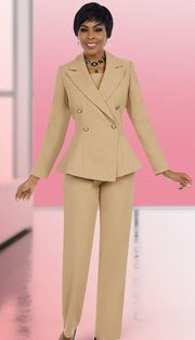 Ben Marc Executive 11575 ( 2pc Ladies Career Pant Suit With Flare Jacket And Button Front Details )