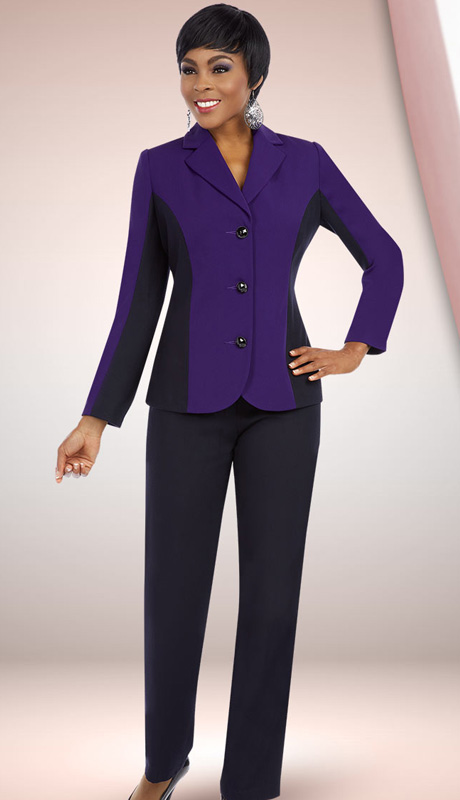 Ben Marc Executive 11578 ( 2pc Womens Career Pant Suit With Jewel Buttoned Jacket )