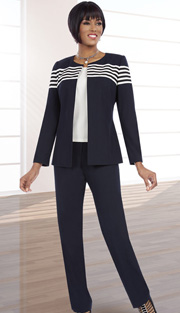 Ben Marc Executive 11580 ( 3pc Ladies Career Pant Set With Stripe Jacket And Solid Cami )