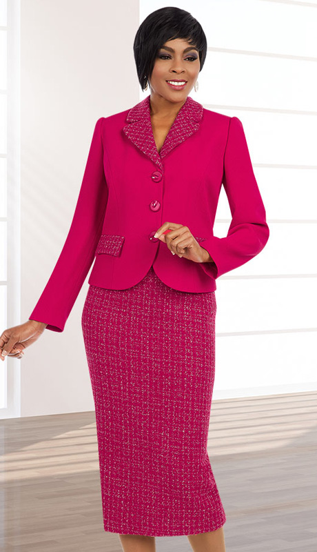 Ben Marc Executive 11582 ( 2pc Womens Church And Career Suit With Metallic Weave Details On Jacket With Skirt )