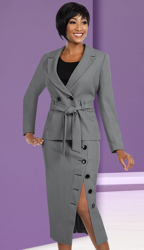 Ben Marc Executive 11585 ( 3pc Womens Church And Career Suit With Large Button Details, Belted Waist Jacket Cami And Skirt )