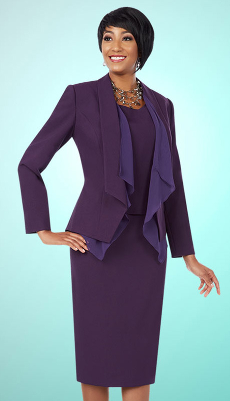 Ben Marc Executive 11587 ( 3pc Womens Church And Career Suit With Drape Front Jacket, Cami And Skirt )