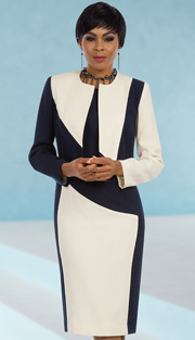 Ben Marc Executive 11593 ( 2pc Ladies Church And Career Dress And Jacket With Dynamic Color Block )