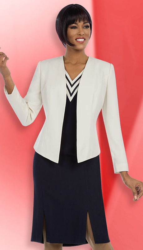 Ben Marc Executive 11595 ( 2pc Womens Church And Career Dress With Chevron Stripe, Double Slit And Solid Jacket )