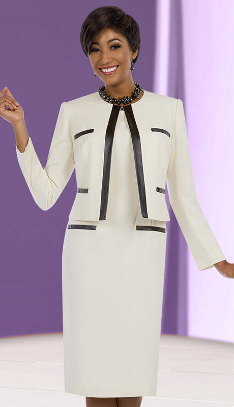 Ben Marc Executive 11597 ( 2pc Womens Church And Career Dress And Jacket  With Contrast Trim )