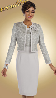 Ben Marc Executive 11603 ( 2pc Womens Church And Career Dress With Abstract Print And Ribbon Flower Brooch )