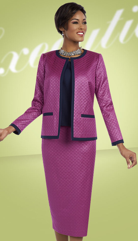 Ben Marc Executive 11604 ( Womens Church And Career Suit With Embossed Pattern Jacket, Cami And Skirt )