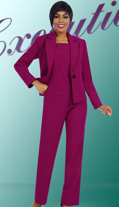 Ben Marc Executive 11605 ( 3pc Womens Career Pant Suit With Pin Stripe Ans Lace Trim Jacket, Cami And Pant )