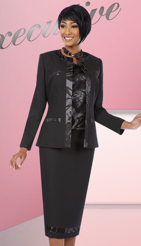 Ben Marc Executive 11608 ( 3pc Ladies Church And Career Suit With Floral Print  Jacket, Cami And Skirt )