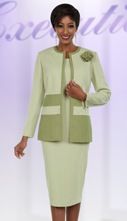 Ben Marc Executive 11695 ( 2pc Ladies Business Dress With Contrasting Trim & Fabric Flower On Jacket )