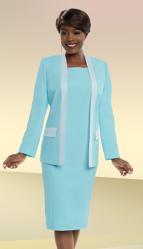 Ben Marc Executive 11692-IH-EBW ( 2pc Womens Business Dress With Contrasting Trimmed Jacket )