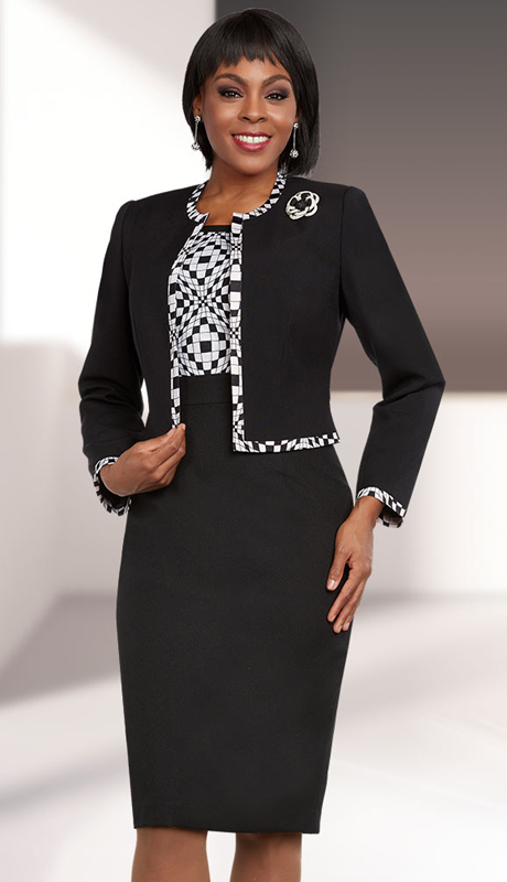 Ben Marc Executive 11689 ( 2pc Abstract Block Pattern Dress & Jacket Suit )