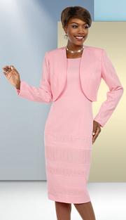 Ben Marc Executive 11688 ( 2pc Ladies Dress Suit With Striped Texture Accents & Bolero Jacket )