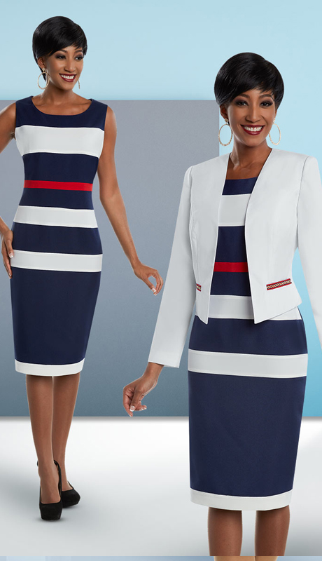 Ben Marc Executive 11685 ( 2pc Multi Striped Dress & Jacket Career Suit )