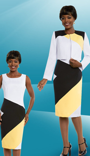 Ben Marc Executive 11684 ( 2pc Womens Dress Suit With Asymmetric Color Block Style )