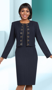 Ben Marc Executive 11683 ( 2pc Grommet & Stud Embellished Dress Suit For Church )