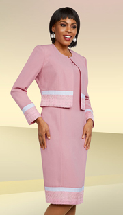 Ben Marc Executive 11680 ( 2pc Womens Sunday Suit With Striped Trims )