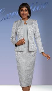 Ben Marc Executive 11674 ( 3pc Womens Career Suit With Brocade Design Print )